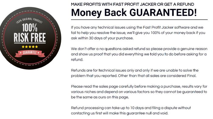 fast profit jacker no money back guarantee