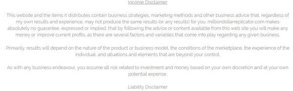 million dollar replicator income disclaimer