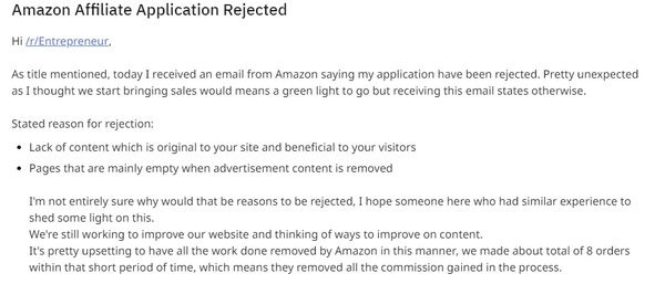 amazon affiliate rejection