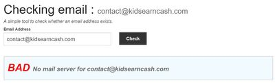 kids earn cash bad email