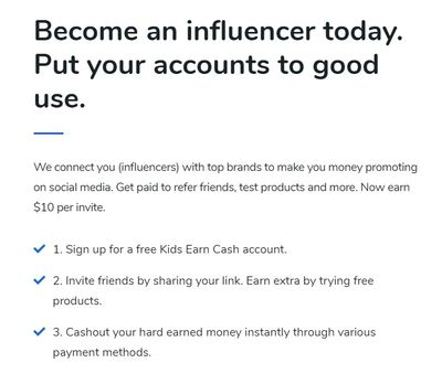 kids earn cash influencer