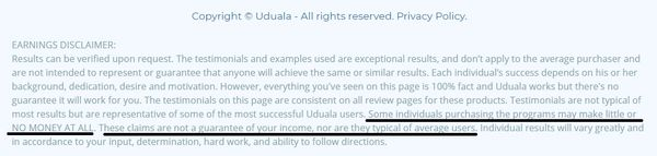 uduala earnings disclaimer