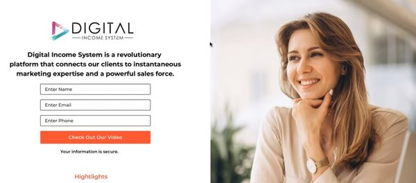 digital income system landing page