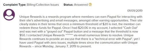 unique rewards complaint 2