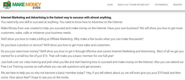 make money even home page