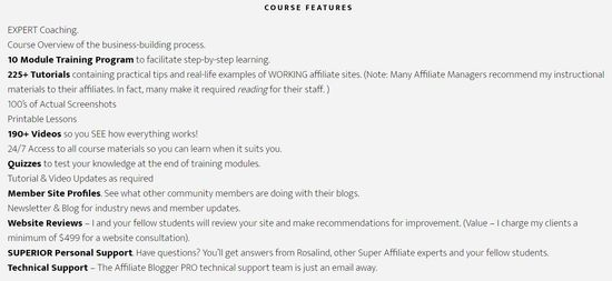 affiliate blogger pro course features
