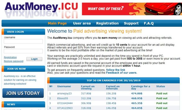 auxmoney home page
