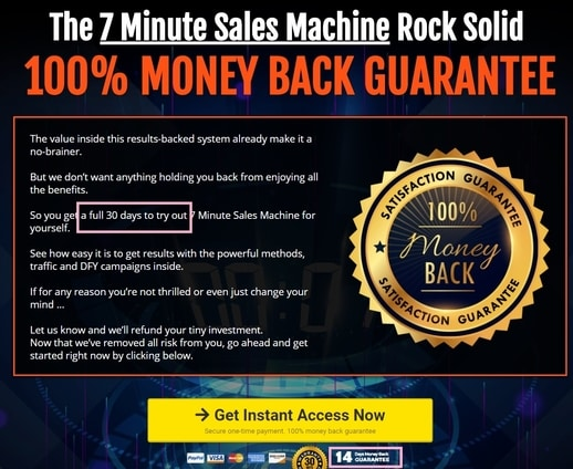 7 minute sales machine refund policy