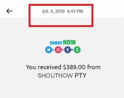 shoutnow fake payment